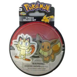 Pokemon 2 Piece Eraser Set - Meowth And Eevee